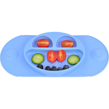 Eco friendly silicone baby plate with suction silicon plate suction cover placemat bowl feeding plate