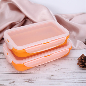 Traveling Square Silicone Airtight Foldable Container Two Boxes for One Set